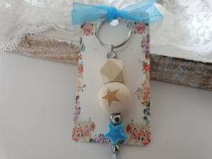 Stern Schlüsselanhänger handgefertigt Holz Porzellan Geschenkset Geburt Taufe Baby Erinnerung Sternenkind - Handarbeit kaufen