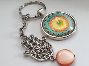 Hamsa Hand Mandala Schlüsselanhänger Glascabochon handgefertigt Geschenk für Frauen Freundin Yogalehrerin Erzieherin - Handarbeit kaufen
