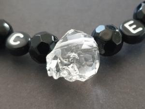 Skull Schädel Kopf Armband personalisierbar handgefertigt mit Initialen Geschenk Frauen Männer Halloween Gothic - Handarbeit kaufen