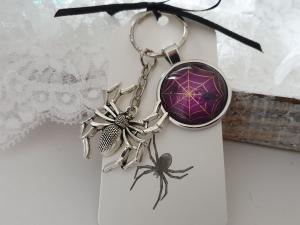 Spinne Schlüsselanhänger Glascabochon handgefertigt Geschenk Frauen Männer Gothic Halloween Accessoire - Handarbeit kaufen