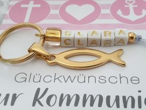Fisch Schlüsselanhänger goldfarben mit Namen handgefertigt Geschenk Kommunion Konfirmation für Mädchen  - Handarbeit kaufen