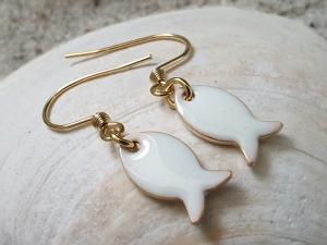 Fisch Ohrhänger Emaille weiß Ohrschmuck Meer Glaube Geschenk Frauen Freundin Mädchen Kommunion - Handarbeit kaufen