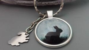 Hase Kaninchen Schlüsselanhänger Glascabochonanhänger handgefertigt mit Edelstahlanhänger Hase Geschenk Frauen Männer Jäger Ostern  - Handarbeit kaufen