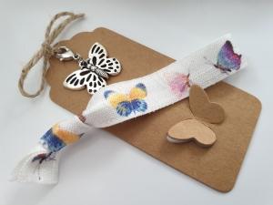 Schmetterling Geschenkset Haargummi Charms handgefertigt mit Metallanhänger Geschenk Frauen Freundin Mama Kollegin  - Handarbeit kaufen