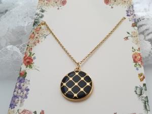 Boho Style Kette mit Emaille schwarz vergoldet Geschenk Frauen Freundin Mama Geburtstag Jahrestag  - Handarbeit kaufen