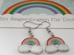 Regenbogen Ohrhänger Rainbow Ohrschmuck Glücksbringer Geschenk Freundschaft Frauen Freundin Mädchen  - Handarbeit kaufen