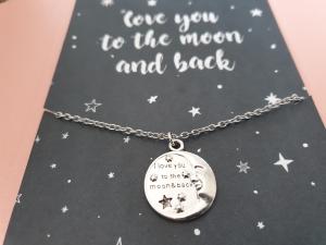 Mond Kette mit Spruch zum Mond und zurück Liebe Geschenk Frauen Freundin Jahrestag Geburtstag Geschenkset Ostern - Handarbeit kaufen