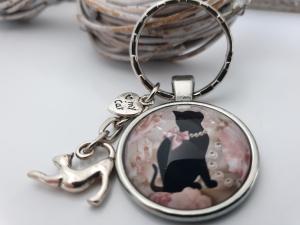 Katzen Schlüsselanhänger Glascabochon handgefertigt Geschenk Katzenliebhaber Katzenliebe Katzenmutti - Handarbeit kaufen