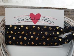 Sterne Haargummi Armband 2er Set schwarz gold Hairties Geschenk Frauen Mädchen Freundin  - Handarbeit kaufen