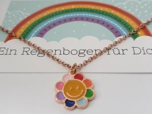 Regenbogen Kette mit Blume Geschenkset Frauen Freundin Mädchen Tochter Enkelin Kindergeburtstag Einschulungsgeschenk - Handarbeit kaufen