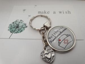 Krankenschwester Schlüsselanhänger Glascabochon handgefertigt Herz Geschenk Danke Frauen Pflegerin Krankenhaus  - Handarbeit kaufen