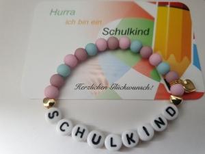Einschulungsgeschenk Schulkind Armband mit Herzen Geschenkset Schulanfang Mädchen Tochter Enkelin - Handarbeit kaufen