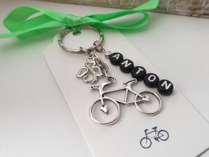 Fahrrad Schlüsselanhänger mit Namen personalisierbar Schutzengel Glücksbringer Geschenk Männer Freund Papa Kollege Radsport Abschied - Handarbeit kaufen