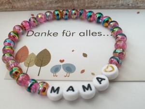 Mama Armband mit Herz handgefertigt Geschenk Mama Mutti Geburtstag Danke Geschenkset - Handarbeit kaufen