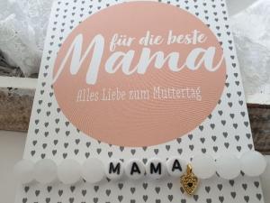 Mama Armband Perlenarmband Jade mit Herz handgefertigt Geschenk Beste Mama Mutter Geburtstag Muttertag Danke mit Karte   - Handarbeit kaufen