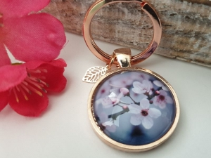 Kirschblüten Schlüsselanhänger Glascabochon handgefertigt mit Blatt Geschenk Frauen Freundin Kollegin Abschied Danke - Handarbeit kaufen