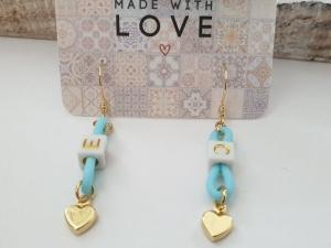 Herz Ohrringe personalisierbar mit Wunschbuchstaben handgefertigt Geschenk Liebe Frauen Freundin Mädchen Jahrestag - Handarbeit kaufen