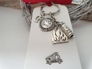 Feuerwehr Schlüsselanhänger personalisierbar handgefertigt mit Anhänger Feuerlöscher Flamme Geschenk Männer Frauen FFW Feuerwehr Danke   - Handarbeit kaufen