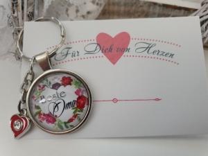 Beste Oma Schlüsselanhänger Glascabochon handgefertigt mit Herz Dankeschön Geschenk Omi Großmutter   - Handarbeit kaufen
