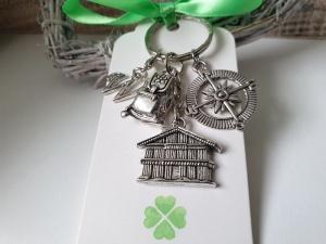 Rucksack Wanderung Schlüsselanhänger mit Kompass Hütte personalisierbar handgefertigt Glücksbringer Geschenk Frauen Männer  - Handarbeit kaufen