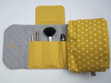 Kosmetiktäschchen mit integriertem Pinselfach, Kosmetiktasche gelb-grau,