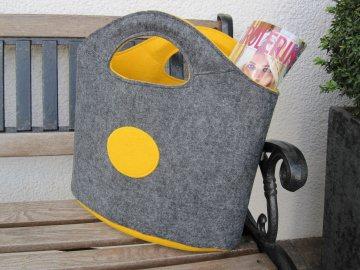 Filzshopper grau-gelb , Einkaufstasche,