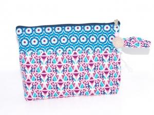 Schminktäschchen Blau & Lila Kosmetiktäschchen, Universaltäschchen aus Baumwolle