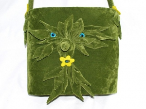 Tasche Waah Motivtasche handgemacht aus Velourstoff  Einzelstück tannengrün