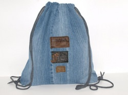 Turnbeutel Jeans Upcycling Festivalbag, Gym Bag Zugbeutel