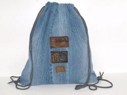 Turnbeutel Jeans Upcycling Festivalbag, Gym Bag Zugbeutel