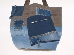 REDUZIERT Jeanstasche Asia Love Upcycling Shopper aus used Jeanstoffen