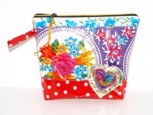 Wachstuch Kosmetiktasche Herz Schminktasche, Kulturbeutel, Universaltasche