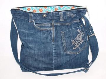Jeanstasche Blue upcycling Umhängetasche aus used Jeansstoff genäht