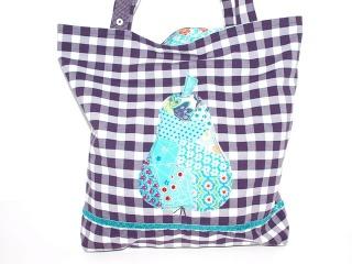 Shopper Blaue Birne, Tragetasche upcycling, handgemachte Einkaufstasche Marktasche