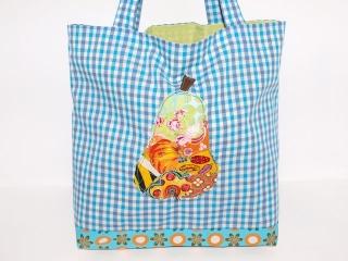 Shopper Birne, Tragetasche upcycling, handgemachte Einkaufstasche , Markttasche