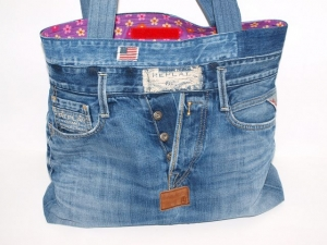 Jeanstasche Neo, Jeans Shopper upcycling aus used Jeans handgemacht