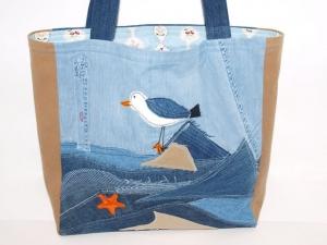 Jeanstasche Blauer Tag , upcycling Jeans Shopper handgemacht aus used Jeans und Baumwolle, Einzelstück