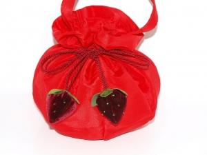 Pompadour Velvet Berry aus roten Taft handgemachter Zugbeutel , Pompadour Beutel