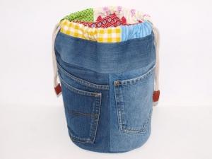 Jeans Beutel Rund Jeanstasche Projekttasche Handarbeitstasche handgemacht upcycling
