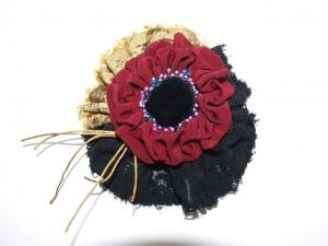 Stoffbrosche  Anstecknadel Modeschmuck Textilschmuck handgemacht - Handarbeit kaufen