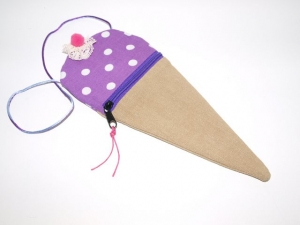 Eis Geldbeutel  Lila  Spitztüte Geldgeschenk handgemacht aus Baumwollstoff