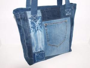 Jeanstasche Recreate upcycling Schultertasche aus used Jeans Shopper handgemacht