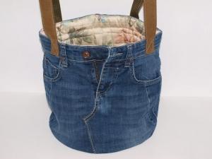 Jeans Stoffkorb Easy upcycling Jeanstasche  Projekttasche  Tragetasche handgemacht