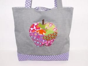 Shopper Apfel Tragetasche upcycling handgemachte Einkaufstasche Markttasche