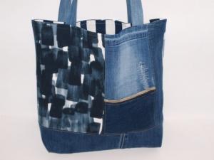 RESERVIERT für Fr. F  4 x Jeans Shopper Upcycling Tragetasche, Markttasche handgemacht