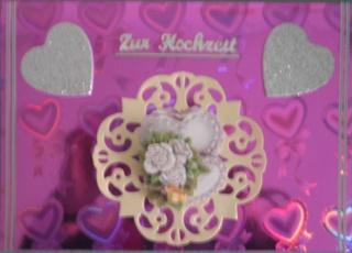 Handgemachte romantische Hochzeitskarte in pink - Handarbeit kaufen