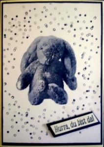 Liebevolle, handgemachte Glückwunschkarte zur Geburt ines Jungen - Handarbeit kaufen