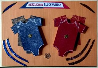 Niedliche, handgemachte Glückwunschkarte zur Geburt eines Zwillingspärchens - Handarbeit kaufen