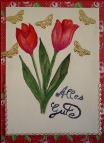 Handgemalte Glückwunschkarte zum Geburtstag mit Tulpen - Handarbeit kaufen