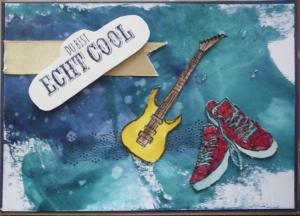 Handgemachte Glückwunschkarte mit Aquarellhintergrund - Handarbeit kaufen